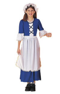 Economy Blue Colonial Girl Costume