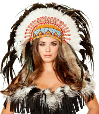 Native American Feather Headdress Woman